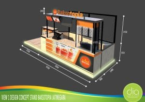 desain booth jualan baksotopia