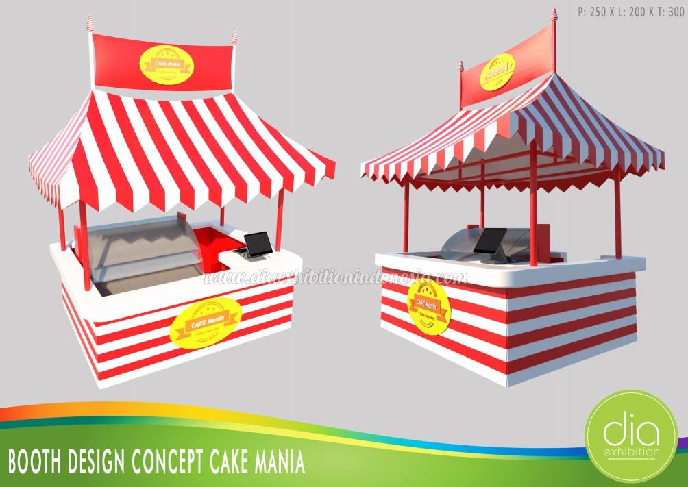 desain booth jualan cake mania